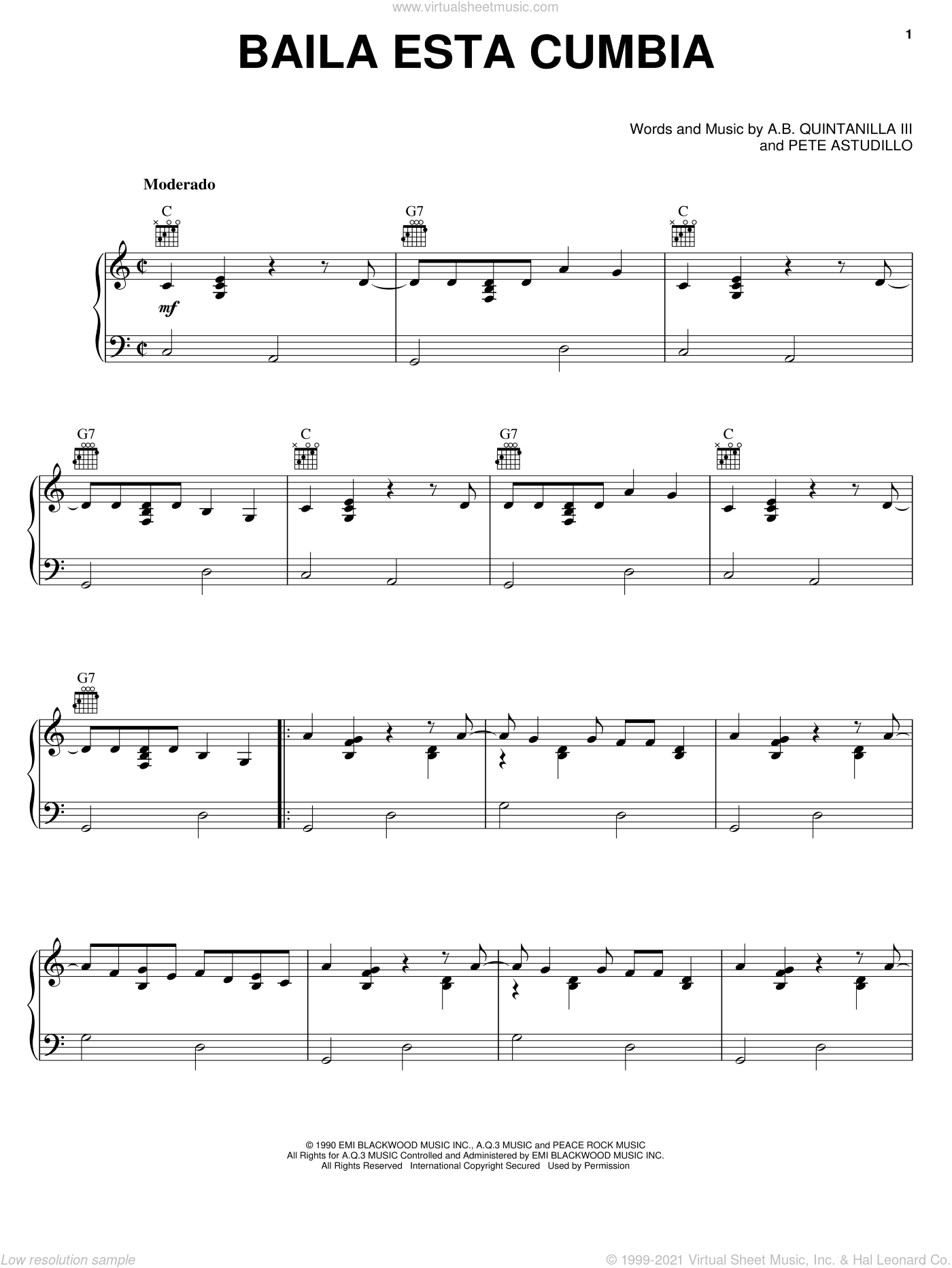 Baila Esta Cumbia sheet music for voice, piano or guitar by Pete Astudillo