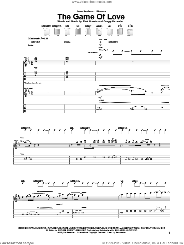 The Game Of Love sheet music for guitar (tablature) by Carlos Santana, Michelle Branch, Gregg Alexander and Rick Nowels, intermediate skill level