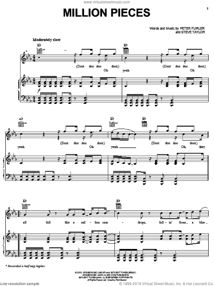 Million Pieces sheet music for voice, piano or guitar by Newsboys, Peter Furler and Steve Taylor, intermediate skill level