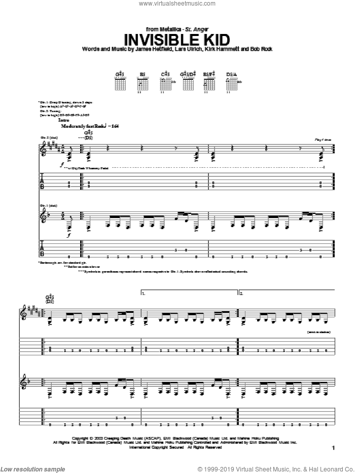 Invisible Kid sheet music for guitar (tablature) by Metallica. Score Image Preview.