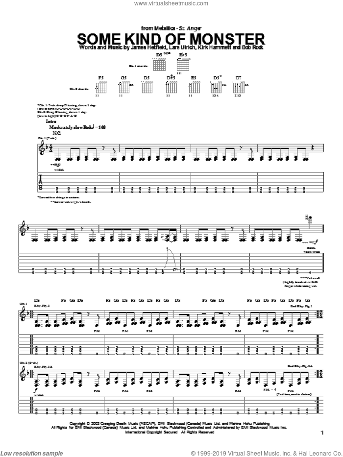 Some Kind Of Monster sheet music for guitar (tablature) by Metallica, intermediate guitar (tablature). Score Image Preview.