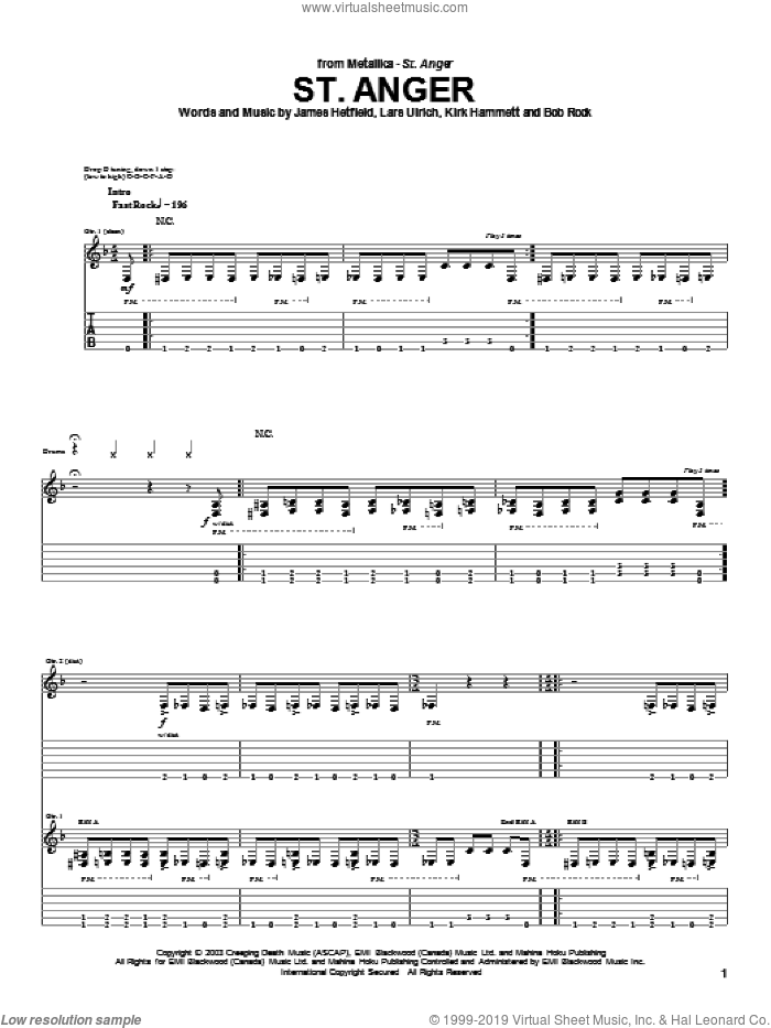 St. Anger sheet music for guitar (tablature) by Lars Ulrich and James Hetfield. Score Image Preview.