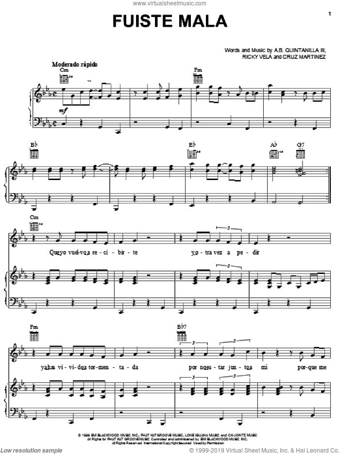 Fuiste Mala sheet music for voice, piano or guitar by Abe Quintanilla III. Score Image Preview.