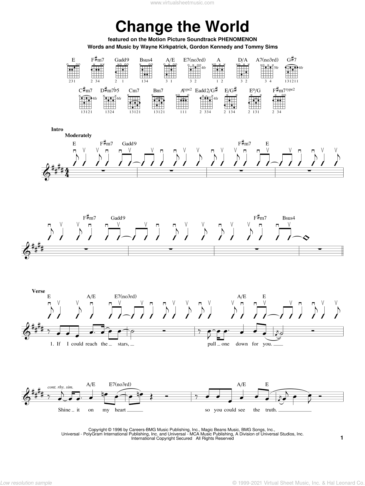 Change The World sheet music for guitar solo (chords) by Eric Clapton, Wynonna, Gordon Kennedy, Tommy Sims and Wayne Kirkpatrick. Score Image Preview.