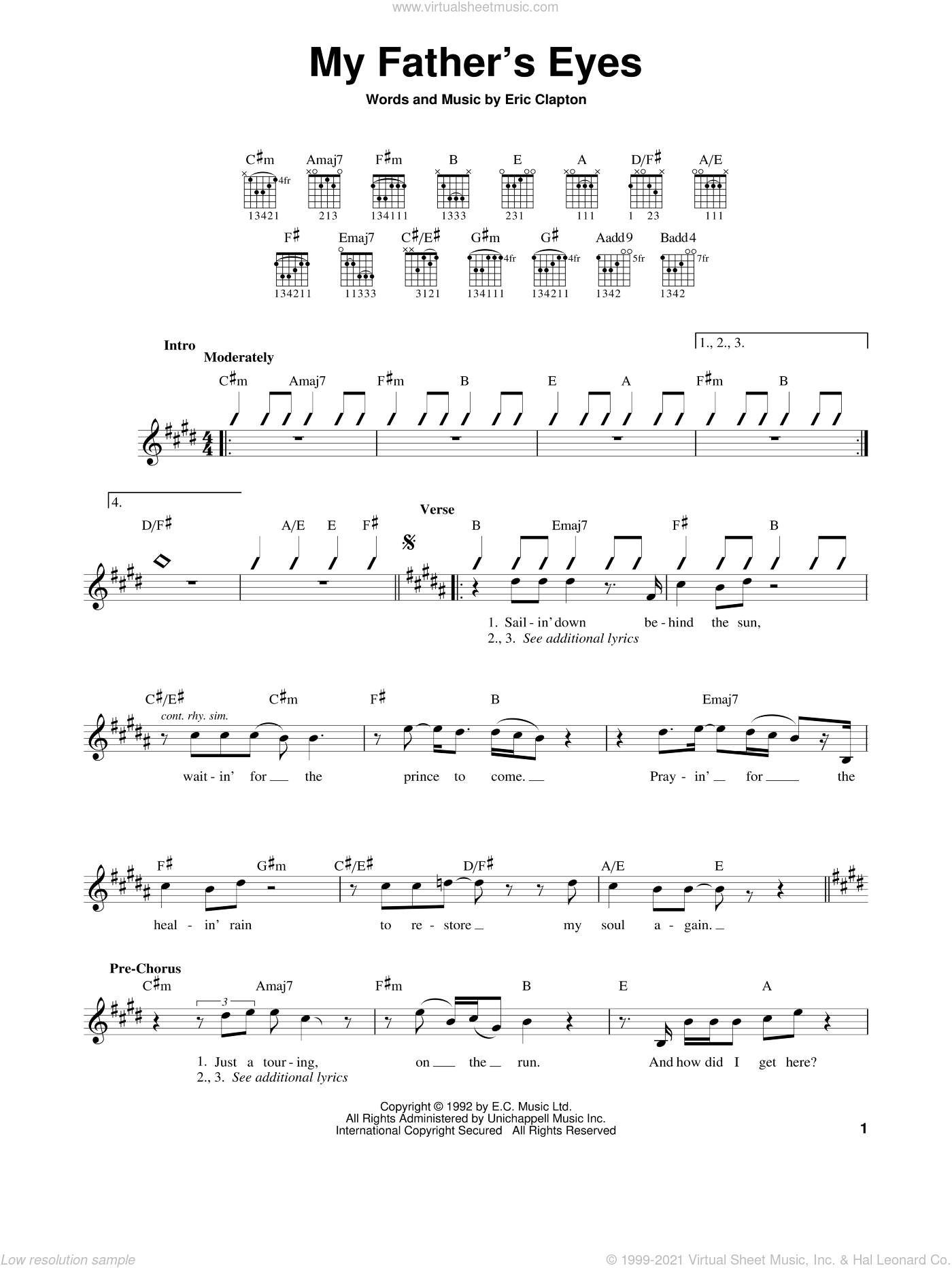 My Father's Eyes sheet music for guitar solo (chords) by Eric Clapton. Score Image Preview.