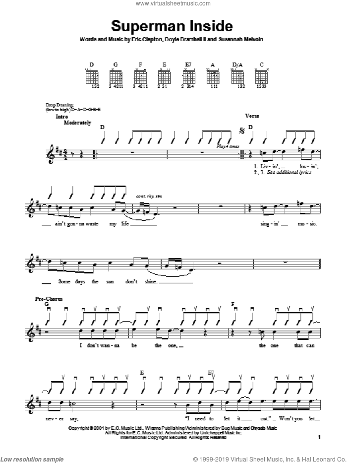 Superman Inside sheet music for guitar solo (chords) by Susannah Melvoin, Doyle Bramhall and Eric Clapton. Score Image Preview.