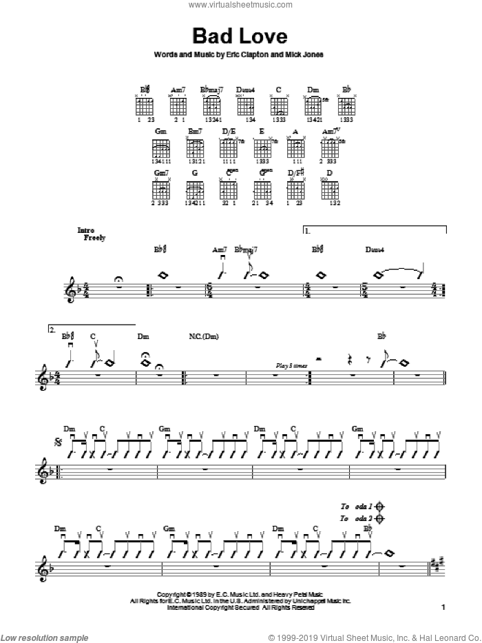 Bad Love sheet music for guitar solo (chords) by Mick Jones and Eric Clapton. Score Image Preview.