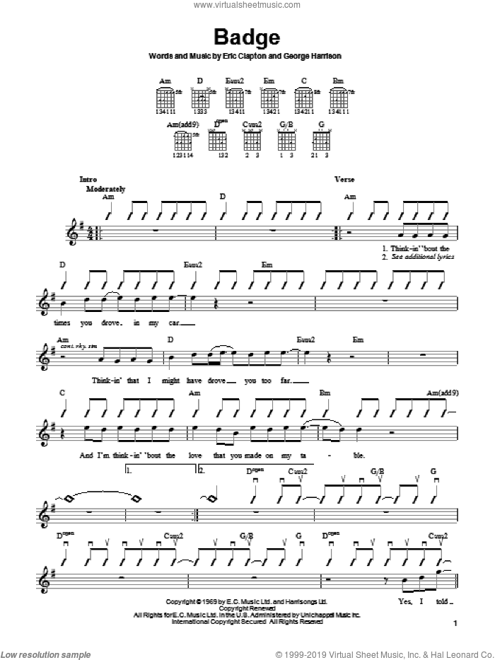 Badge sheet music for guitar solo (chords) by Eric Clapton, Cream and George Harrison, easy guitar (chords)