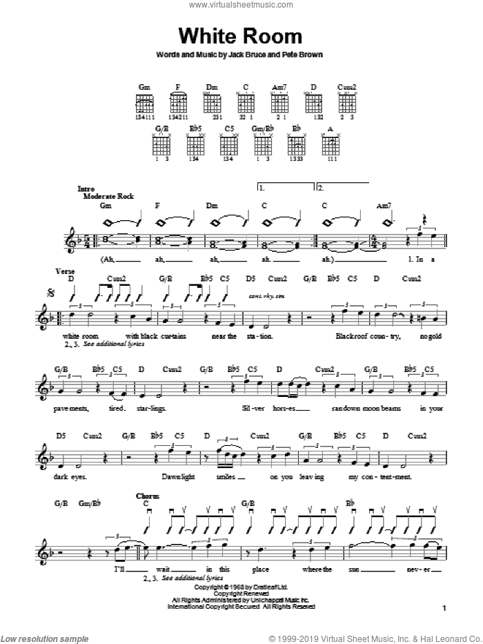 White Room sheet music for guitar solo (chords) by Pete Brown, Cream, Eric Clapton and Jack Bruce. Score Image Preview.