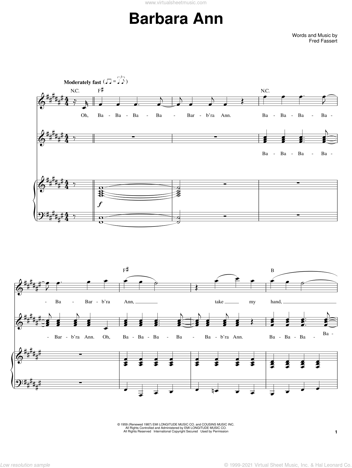 Barbara Ann sheet music for voice and piano by The Regents, The Beach Boys and Fred Fassert, intermediate skill level