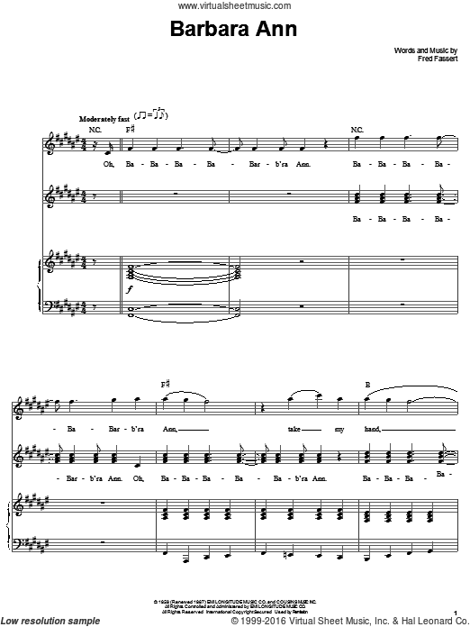 Barbara Ann (COMPLETE) sheet music for voice and piano by Fred Fassert and The Beach Boys. Score Image Preview.