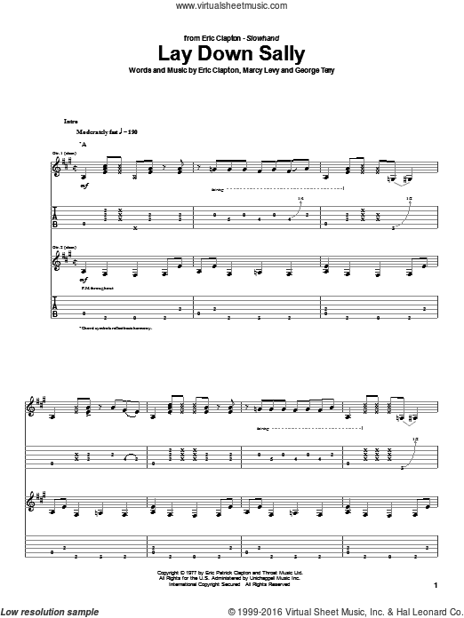 Lay Down Sally sheet music for guitar (tablature) by Marcy Levy