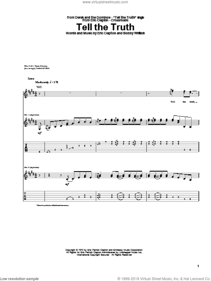 Tell The Truth sheet music for guitar (tablature) by Bobby Whitlock and Eric Clapton. Score Image Preview.