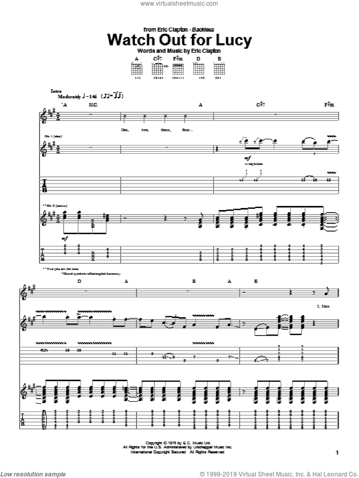 Watch Out For Lucy sheet music for guitar (tablature) by Eric Clapton, intermediate guitar (tablature). Score Image Preview.