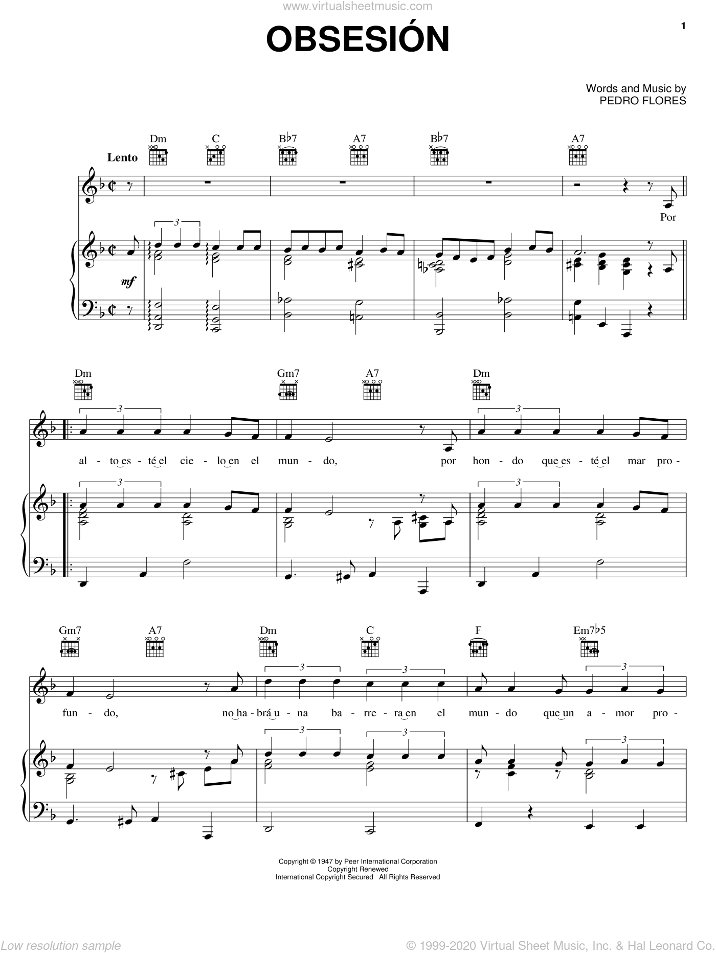 Obsesion sheet music for voice, piano or guitar by Pedro Flores, intermediate. Score Image Preview.