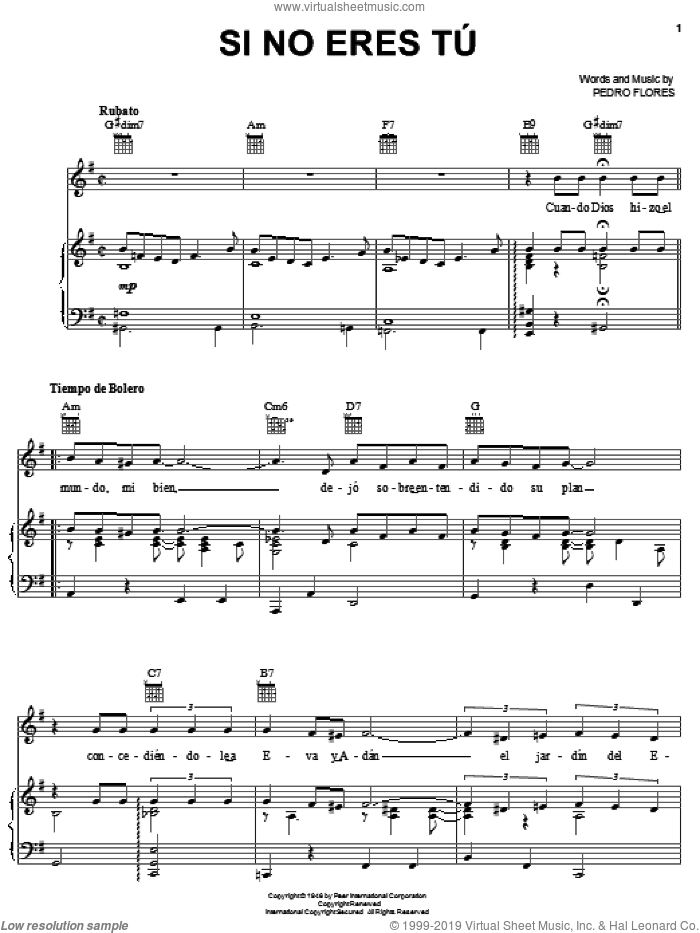 Si No Eres Tu sheet music for voice, piano or guitar by Pedro Flores. Score Image Preview.