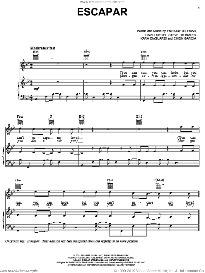 Escapar sheet music for voice, piano or guitar by Steve Morales, David Siegel and Enrique Iglesias. Score Image Preview.