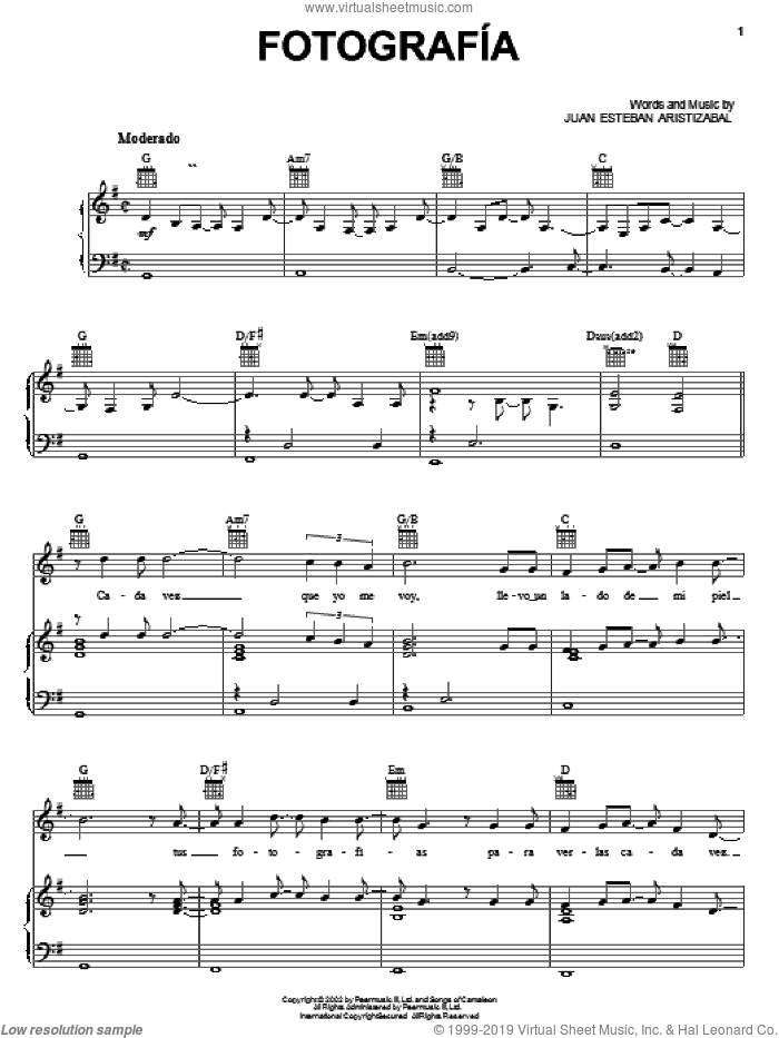 Fotografia sheet music for voice, piano or guitar by Juanes and Juan Esteban Aristizabal, intermediate skill level