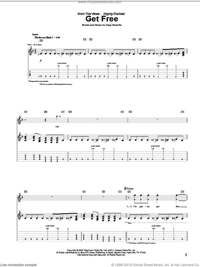 Get Free sheet music for guitar (tablature) by The Vines and Craig Nicholls, intermediate skill level