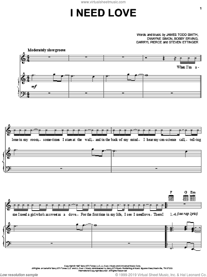 I Need Love sheet music for voice, piano or guitar by James Todd Smith, Bobby Erving and Dwayne Simon, intermediate skill level