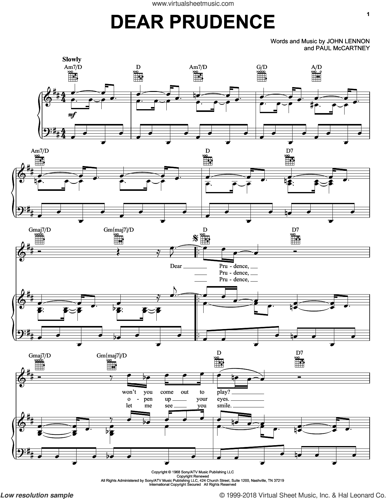 Dear Prudence sheet music for voice, piano or guitar by The Beatles, Across The Universe (Movie), John Lennon and Paul McCartney, intermediate skill level
