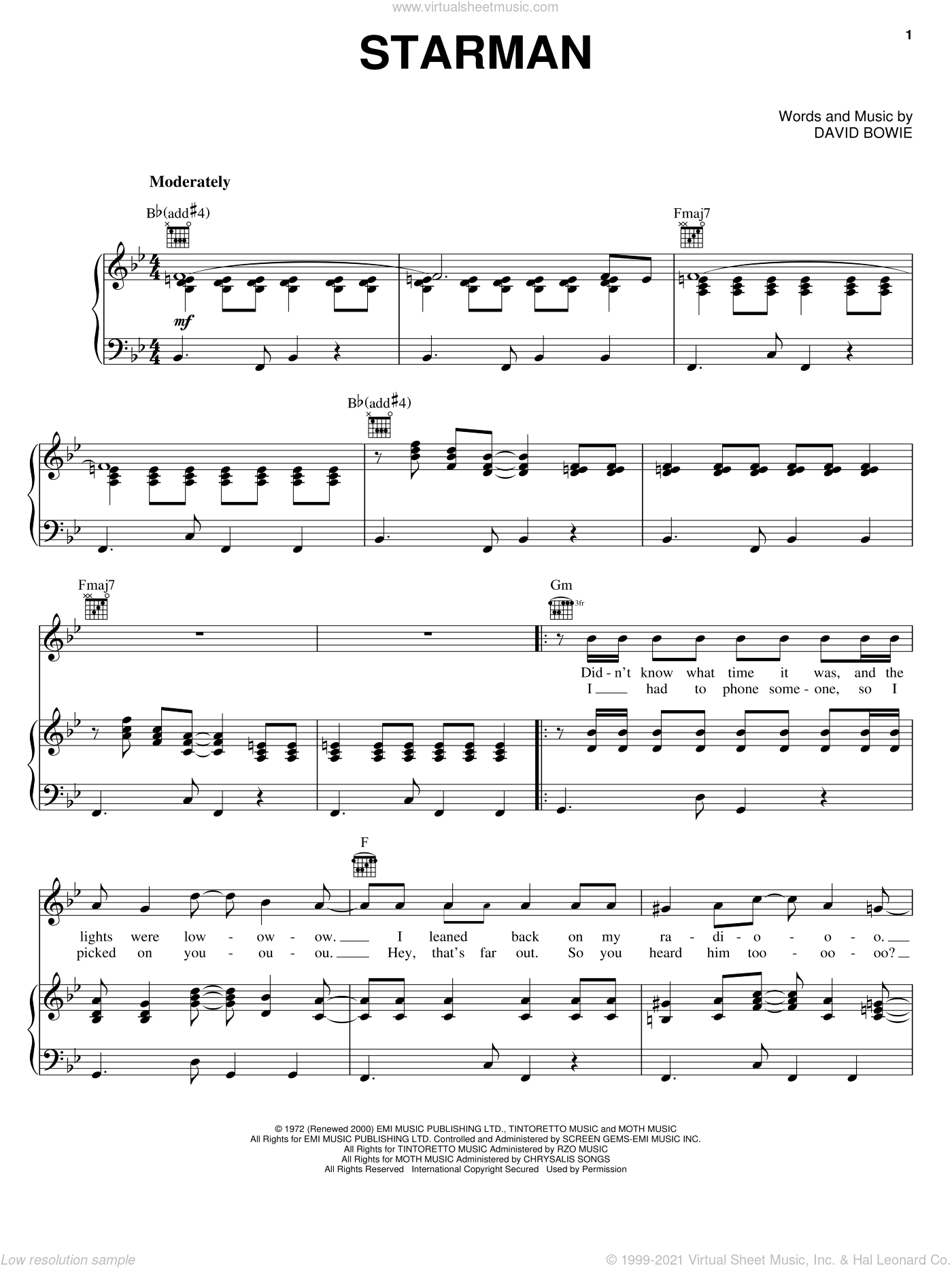 Starman sheet music for voice, piano or guitar by David Bowie, intermediate