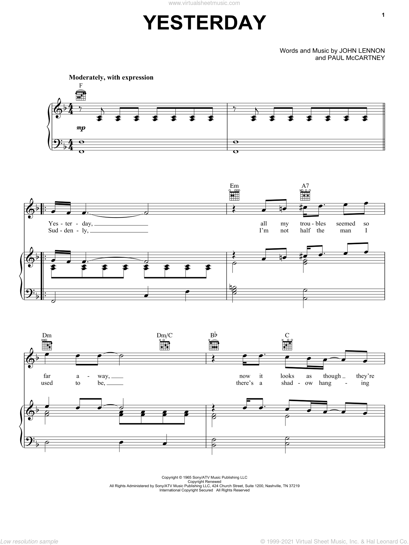 Yesterday sheet music for voice, piano or guitar by The Beatles, John Lennon and Paul McCartney, intermediate skill level