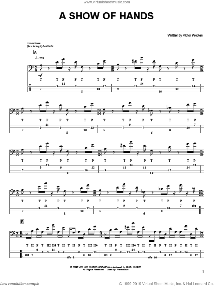 A Show Of Hands sheet music for bass (tablature) (bass guitar) by Victor Wooten