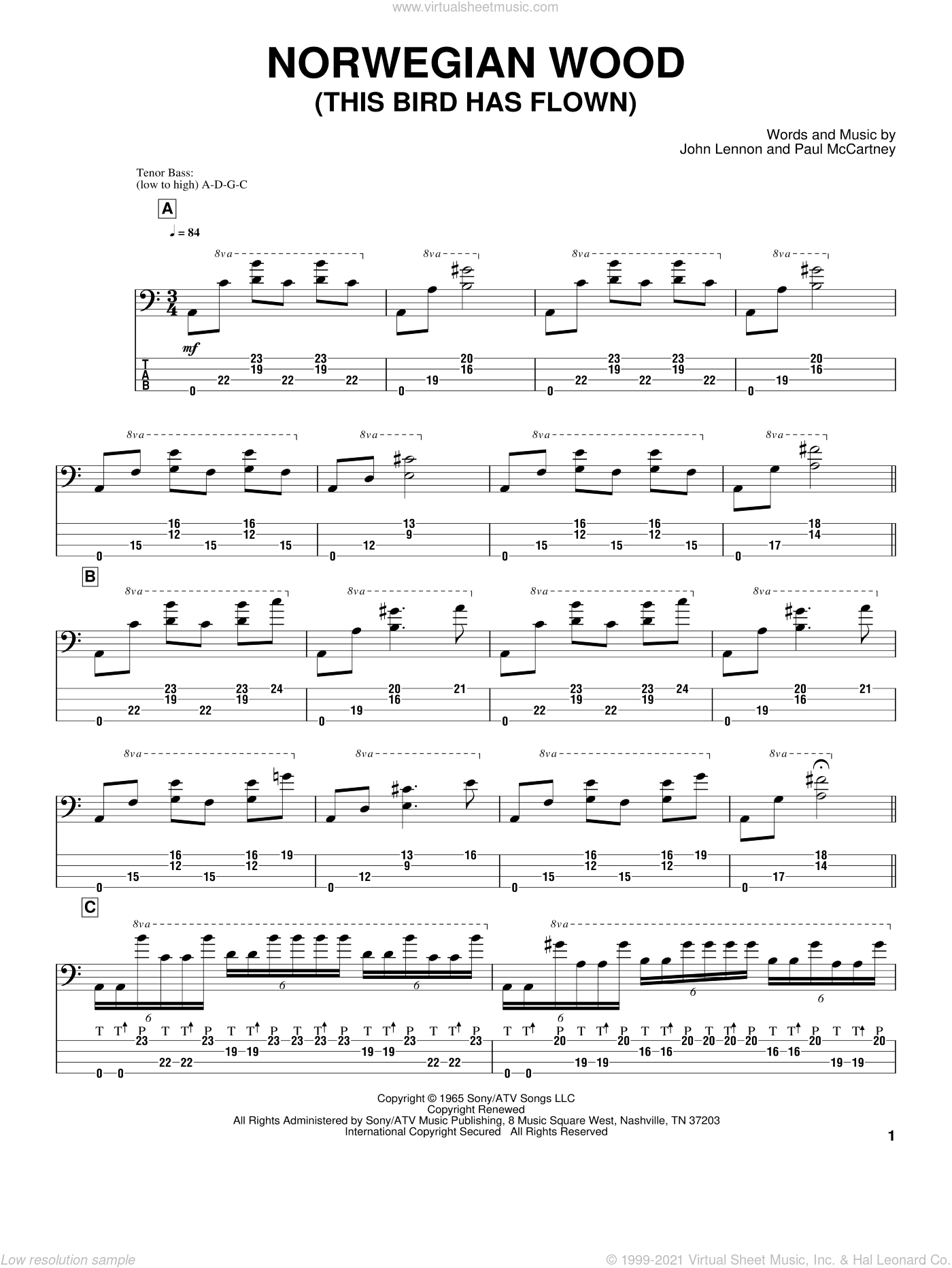 Norwegian Wood (This Bird Has Flown) sheet music for bass (tablature) (bass guitar) by Paul McCartney