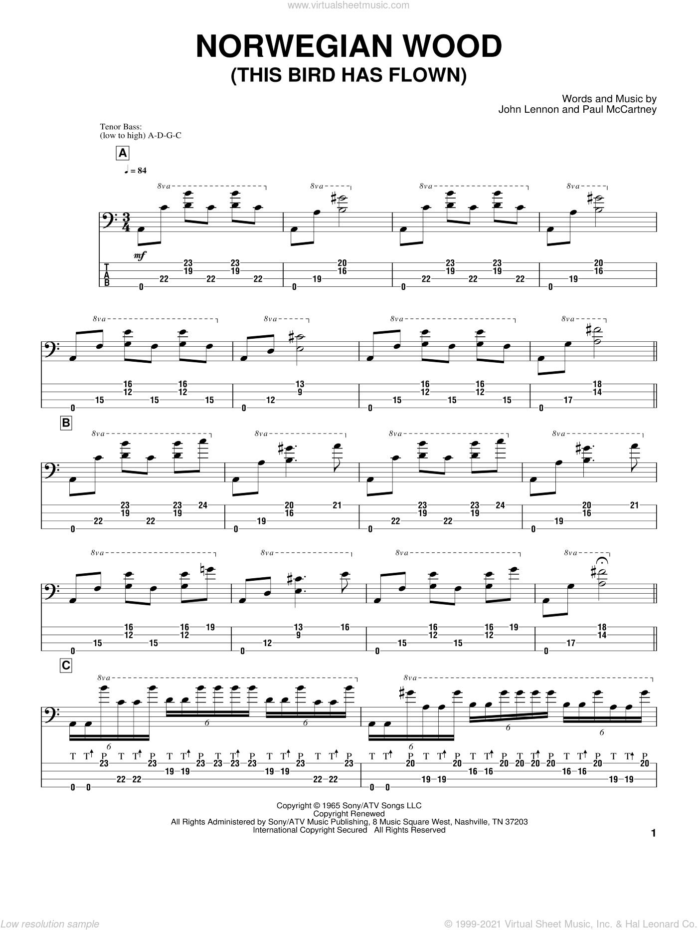 Norwegian Wood (This Bird Has Flown) sheet music for bass (tablature) (bass guitar) by Victor Wooten, The Beatles, John Lennon and Paul McCartney, intermediate skill level
