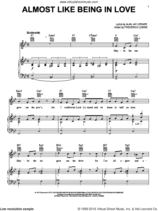 Almost Like Being In Love sheet music for voice, piano or guitar by Frederick Loewe, Frank Sinatra, Lerner & Loewe and Alan Jay Lerner. Score Image Preview.