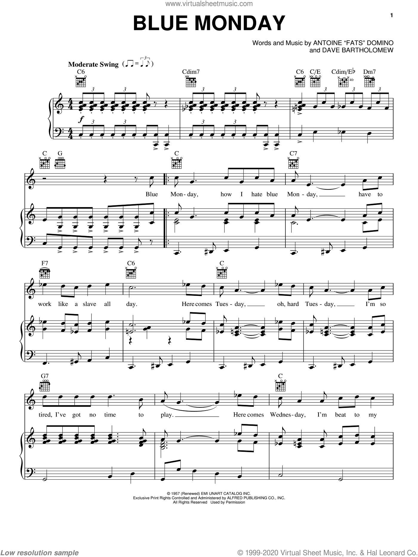 Blue Monday sheet music for voice, piano or guitar by Fats Domino and Dave Bartholomew, intermediate skill level