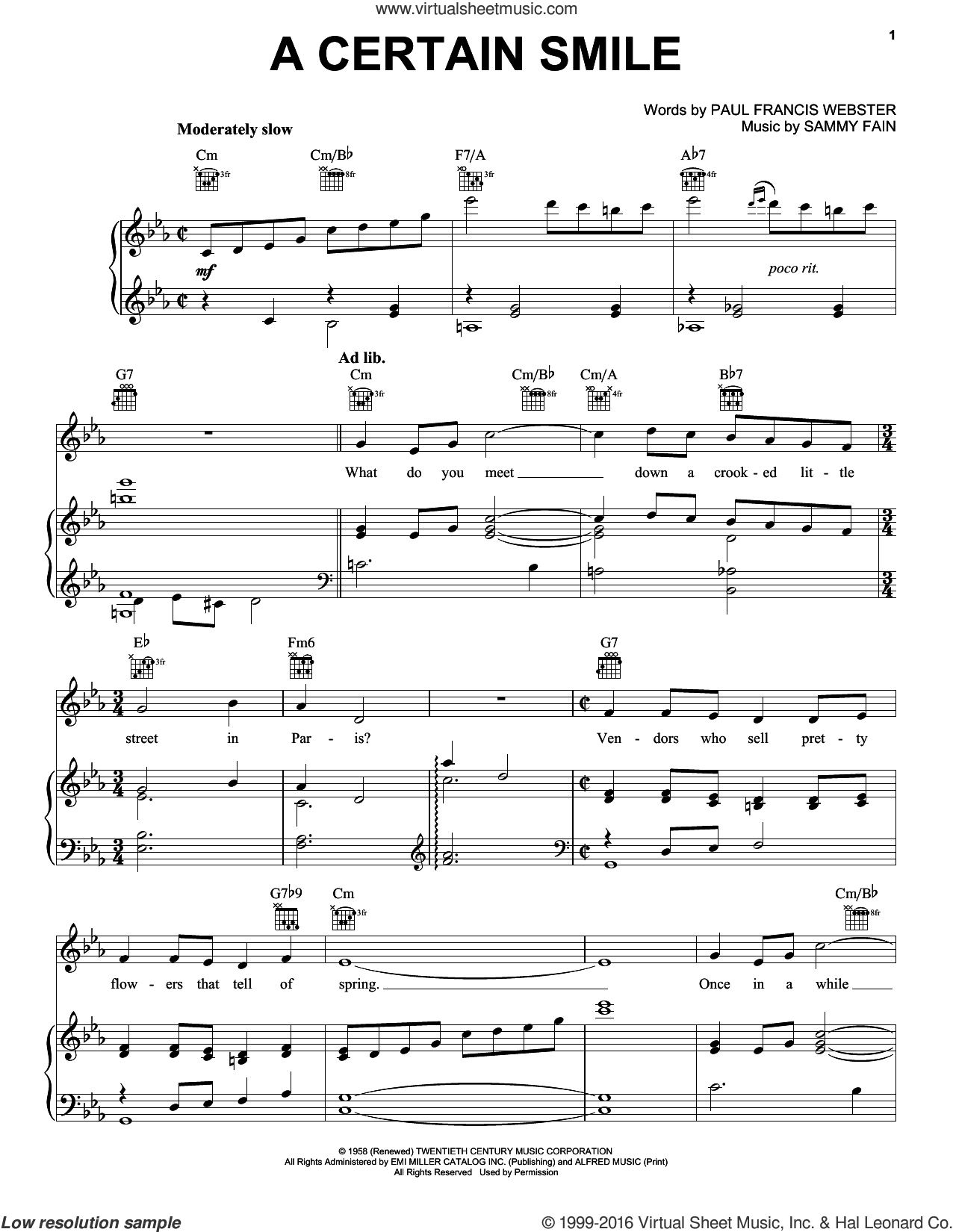 A Certain Smile sheet music for voice, piano or guitar by Johnny Mathis, Paul Francis Webster and Sammy Fain, intermediate