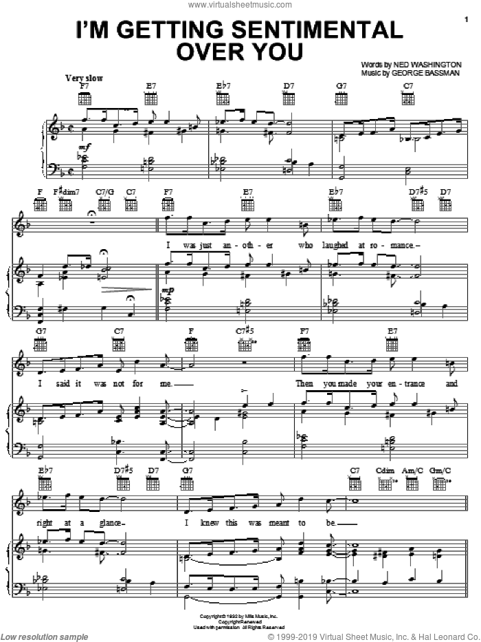 I'm Gettin' Sentimental Over You sheet music for voice, piano or guitar by Ned Washington and George Bassman, intermediate skill level