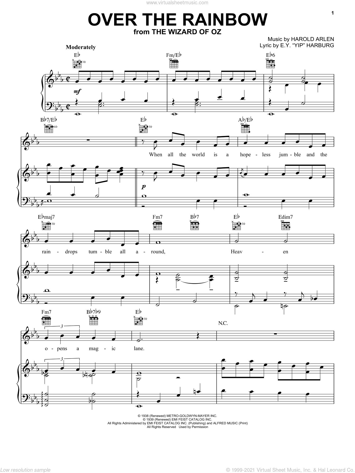 Over The Rainbow sheet music for voice, piano or guitar by Judy Garland, The Wizard Of Oz (Movie), E.Y. Harburg and Harold Arlen, intermediate skill level