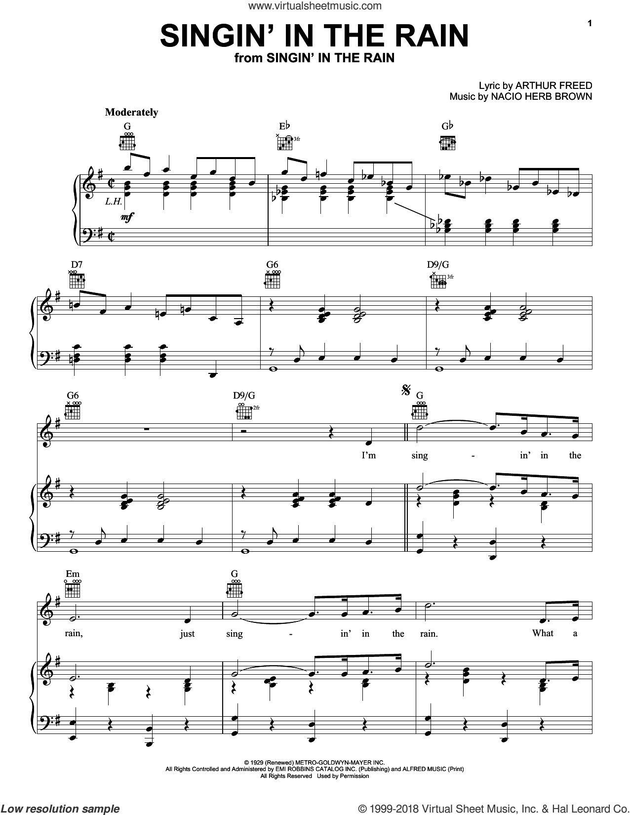 Singin' In The Rain sheet music for voice, piano or guitar by Nacio Herb Brown
