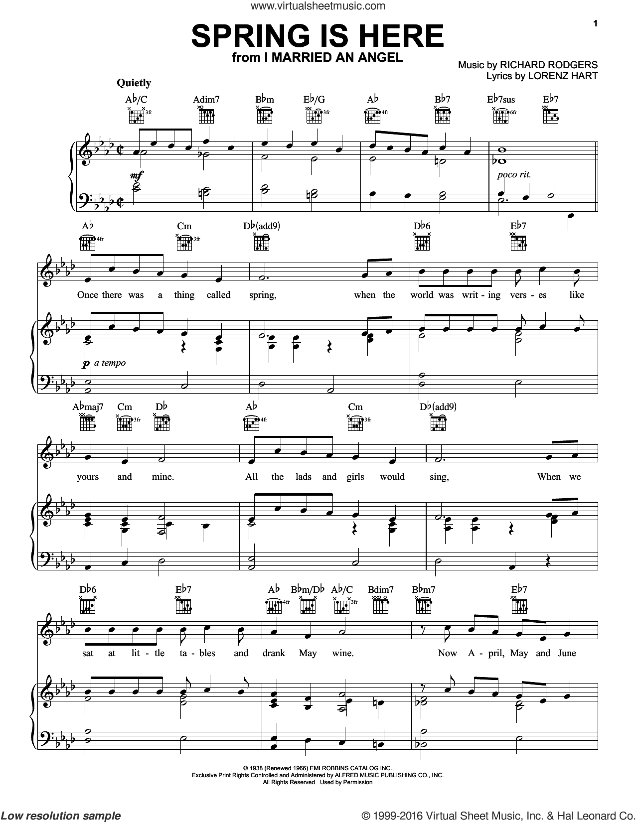 Spring Is Here sheet music for voice, piano or guitar by Rodgers & Hart, Lorenz Hart and Richard Rodgers, intermediate skill level