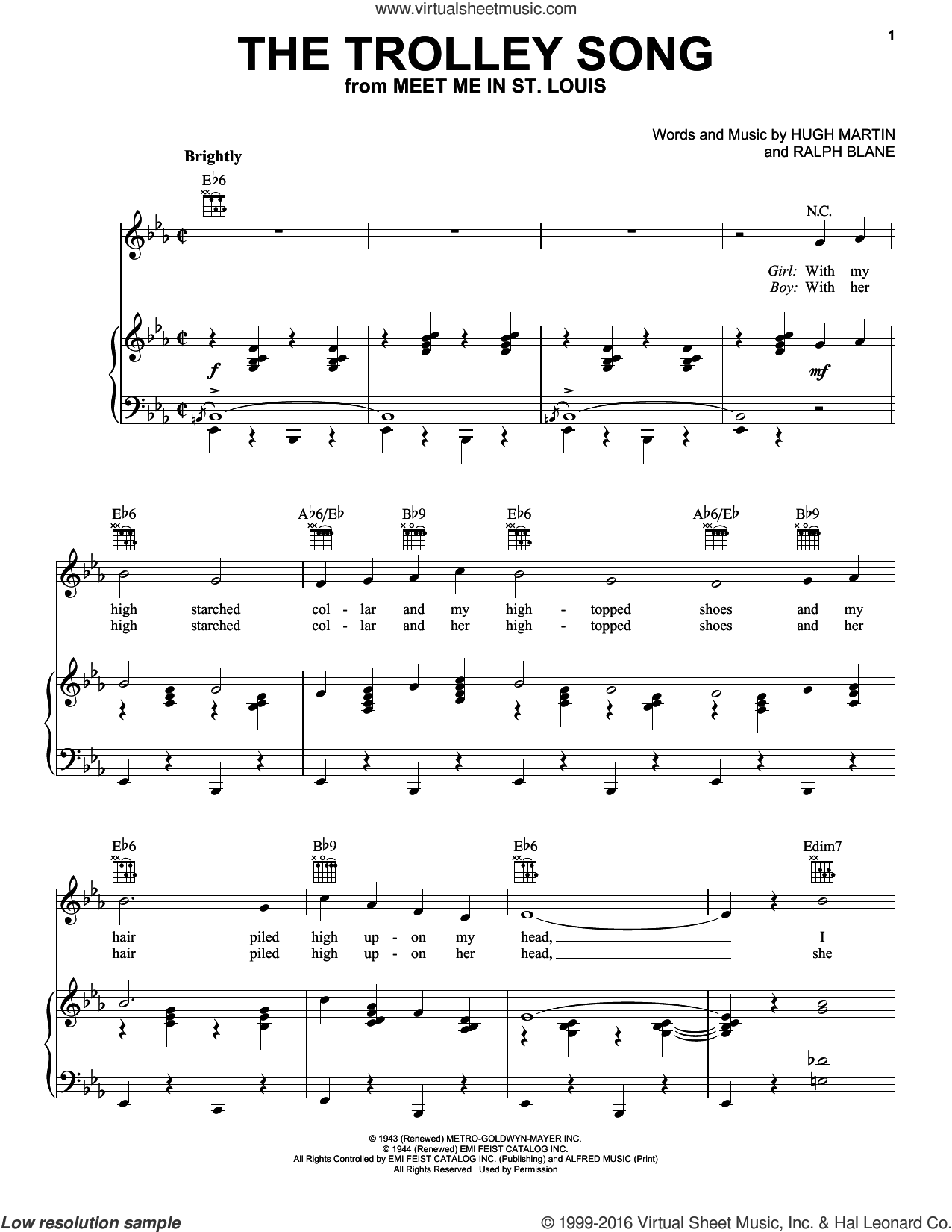 The Trolley Song sheet music for voice, piano or guitar by Ralph Blane