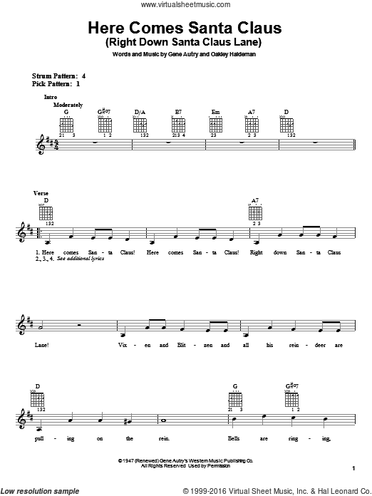 Here Comes Santa Claus (Right Down Santa Claus Lane) sheet music for guitar solo (chords) by Oakley Haldeman