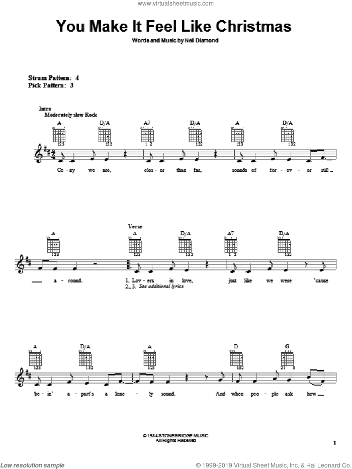 You Make It Feel Like Christmas sheet music for guitar solo (chords) by Neil Diamond. Score Image Preview.