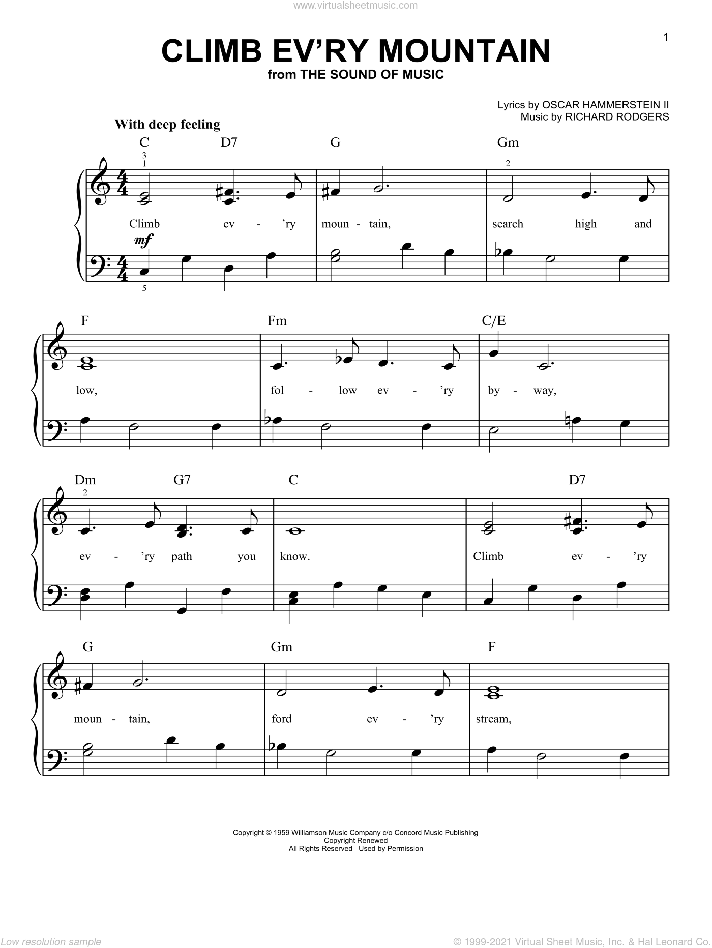 Climb Ev'ry Mountain sheet music for piano solo by Rodgers & Hammerstein, The Sound Of Music (Musical), Oscar II Hammerstein and Richard Rodgers, easy skill level