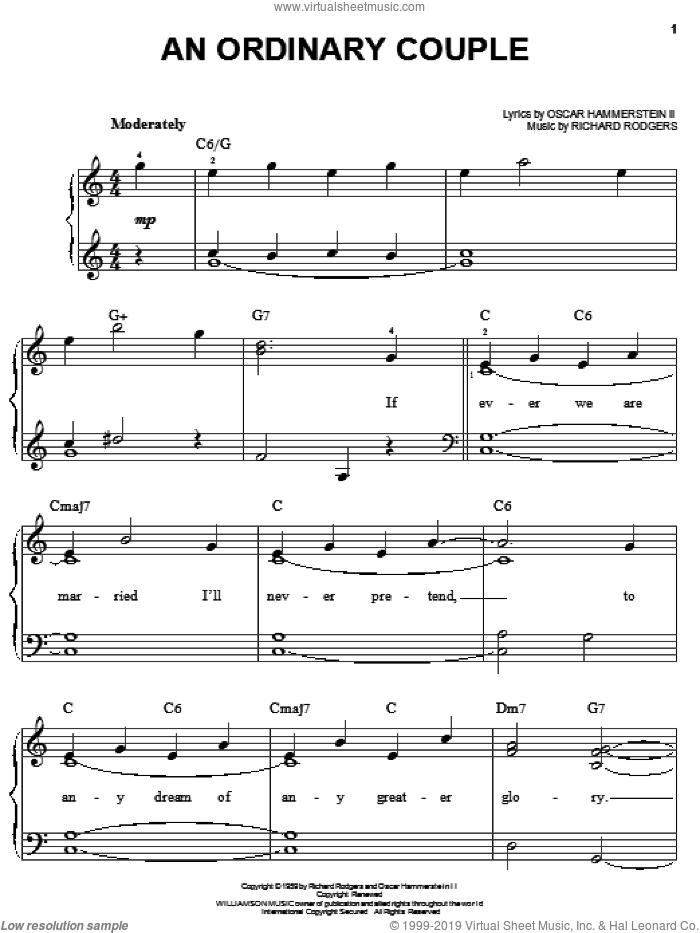 An Ordinary Couple sheet music for piano solo by Rodgers & Hammerstein, Oscar II Hammerstein and Richard Rodgers, easy piano. Score Image Preview.