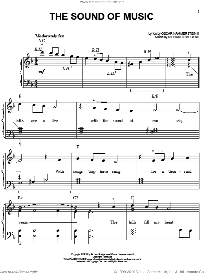The Sound Of Music, (easy) sheet music for piano solo by Rodgers & Hammerstein, The Sound Of Music (Musical), Oscar II Hammerstein and Richard Rodgers, easy skill level