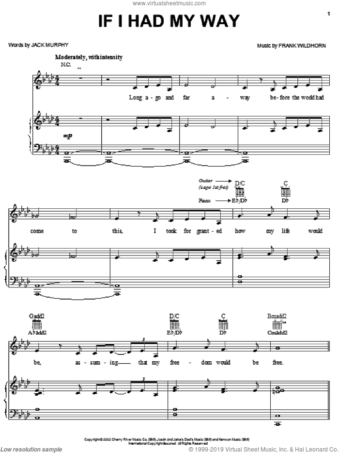 If I Had My Way sheet music for voice, piano or guitar by Jack Murphy