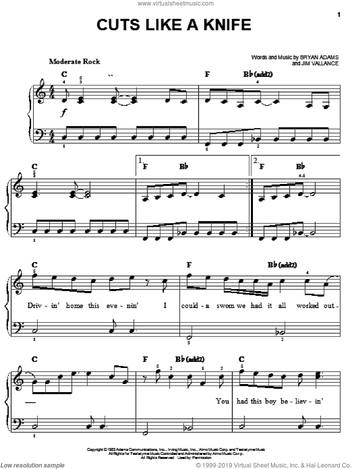 Cuts Like A Knife sheet music for piano solo by Bryan Adams and Jim Vallance, easy skill level