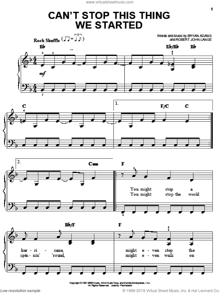 Can't Stop This Thing We Started sheet music for piano solo by Robert John Lange and Bryan Adams. Score Image Preview.