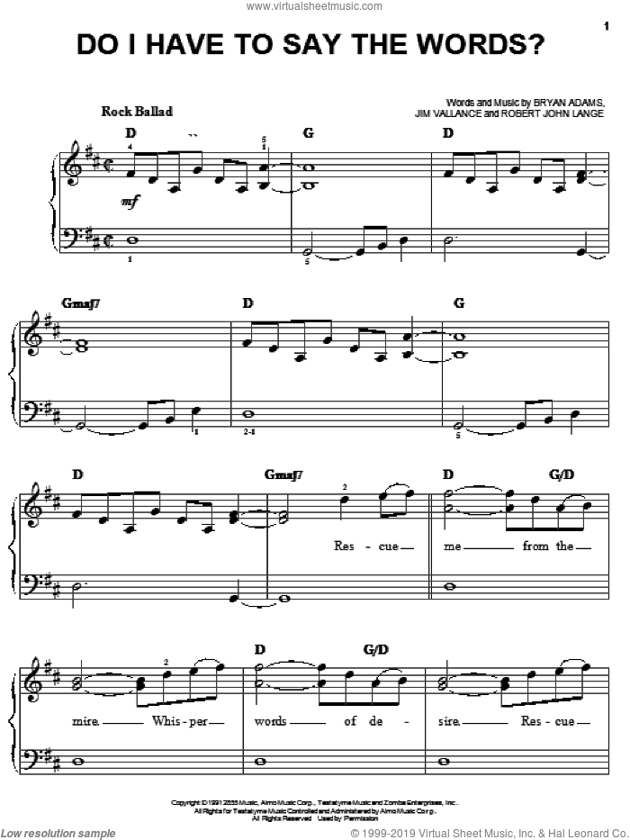 Do I Have To Say The Words? sheet music for piano solo by Bryan Adams, Jim Vallance and Robert John Lange, easy skill level
