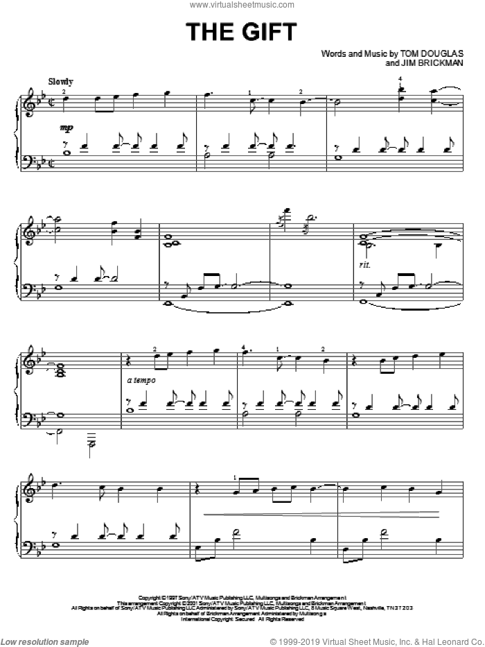 The Gift sheet music for piano solo by Jim Brickman, Collin Raye and Tom Douglas, Christmas carol score, intermediate piano. Score Image Preview.
