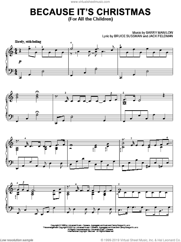 Because It's Christmas (For All The Children) sheet music for piano solo by Barry Manilow and Jack Feldman, Christmas carol score, intermediate piano. Score Image Preview.