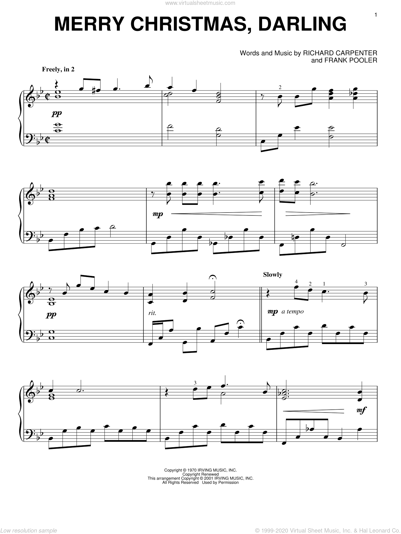 Merry Christmas, Darling sheet music for piano solo by Carpenters, Frank Pooler and Richard Carpenter, intermediate skill level
